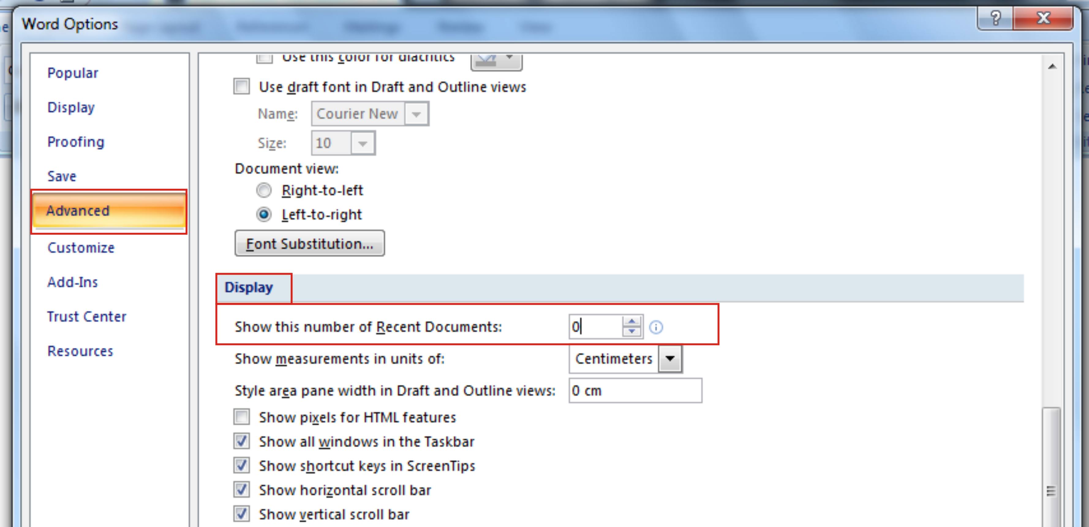setting of recent documents in word